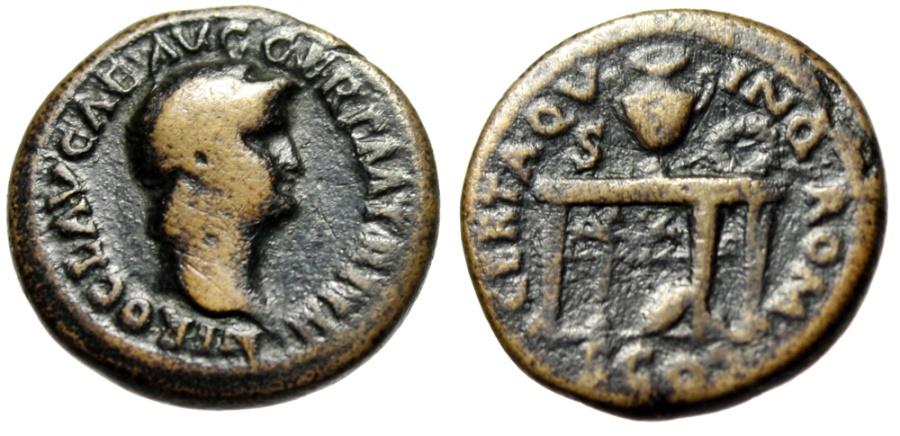 "Ancient Coins - Nero Brass Semis ""CERTAQVUNQ ROM CO Table, Urn, Wreath, Shield"" RIC 245 Scarce"