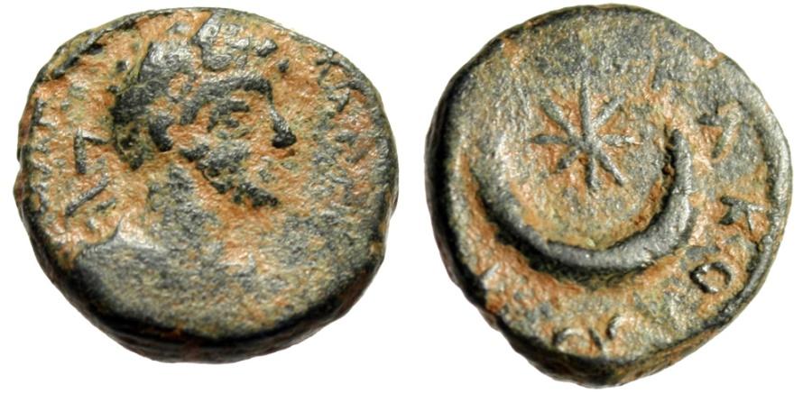 "Ancient Coins - Caracalla AE14 ""Laureate Bust & Crescent, Star"" Mesopotamia Carrhae Rare"