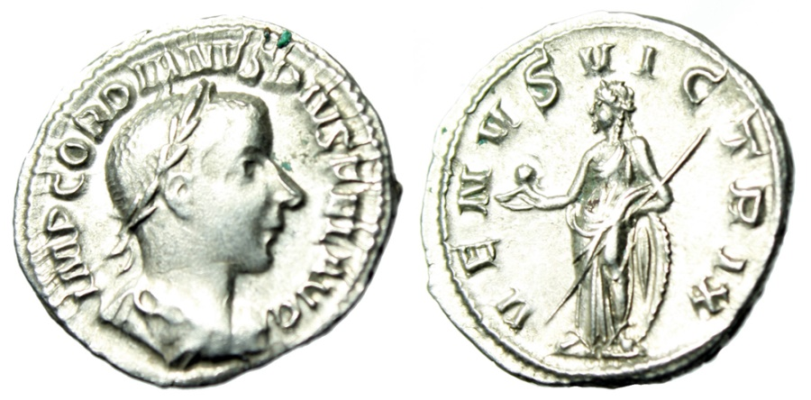 "Ancient Coins - Gordian III Silver Denarius ""VENVS VICTRIX Venus Standing"" Rome RIC 131 EF"
