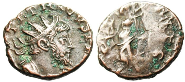 "Ancient Coins - Tetricus I AE Ant. ""LAETITIA AVGG Laetitia With Anchor & Wreath"" Cologne"