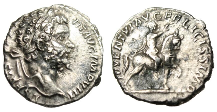 "Ancient Coins - Septimius Severus Silver Denarius ""ADVENTI AVG FELICISSIMO Horeback"" RIC 74 VF"
