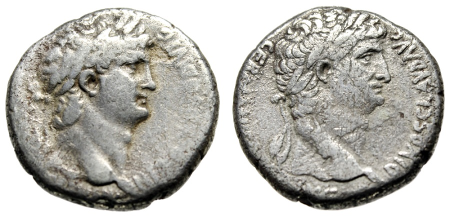 """Ancient Coins - Nero & Divus Claudius I Silver Tetradrachm """"Busts of Both"""" Syria, Antioch Fine"""