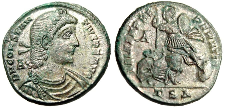 "Ancient Coins - Constantius II Silvered Centenionalis ""FEL TEMP REPARATIO"" Thessalonica gVF"