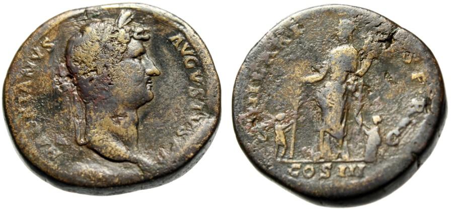 "Ancient Coins - Hadrian AE Sestertius ""Hilaritas With Children & Palm"" Rome 138 AD RIC 970 Fine"