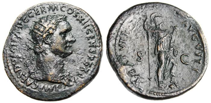 "Ancient Coins - Domitian AE Dupondius ""Virtus Standing"" RIC II 484 Near EF"