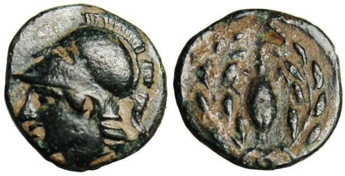 "Ancient Coins - Aeolis, Elaia AE11 ""Athena & Barely Grain"" VF"