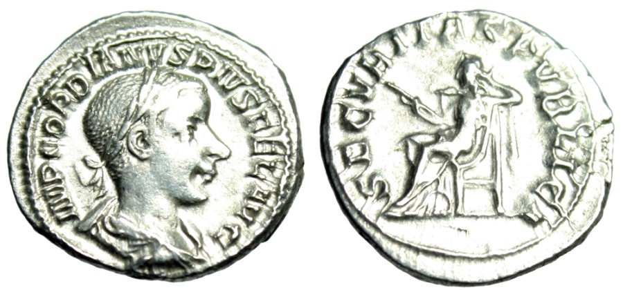 "Ancient Coins - Gordian III Silver Denarius ""SECVRITAS PVBLICA Securitas Seated"" RIC 130 gF"