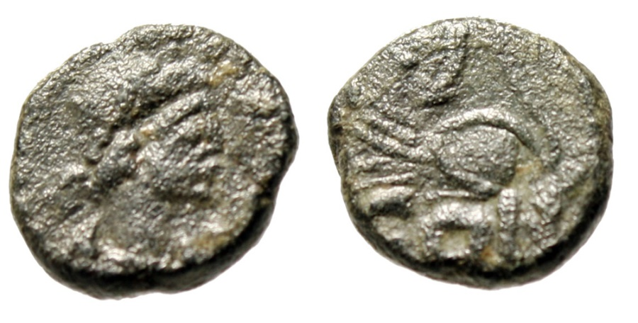 """Ancient Coins - Leo I AE4 """"Lion Crouching in Laurel Wreath"""" Constantinople RIC 673 Very Rare"""