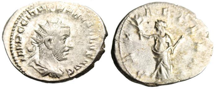 "Ancient Coins - Trebonianus Gallus AR Antoninianus ""PAX AETERNA Pax"" Milan VF RIC 71"