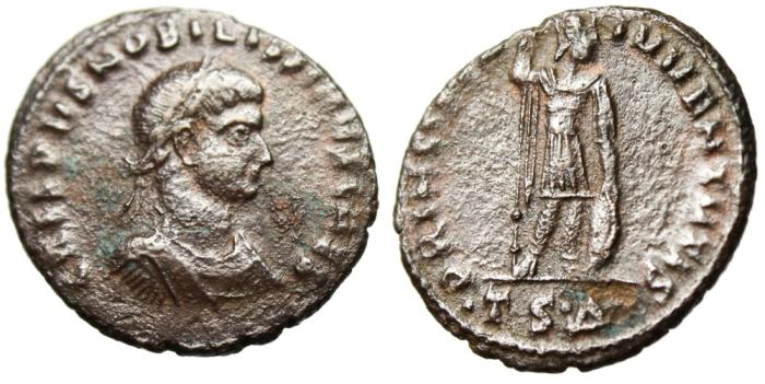 "Ancient Coins - Crispus AE3 ""PRINCIPIA IVVENTVTIS Holding Spear & Shield"" Thessalonica Rare"