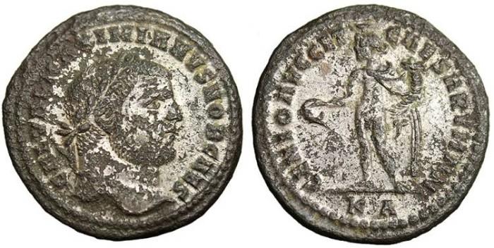 """Ancient Coins - Galerius, Silvered Follis """"Genius"""" Cyzicus RIC 11b 297-299 AD"""