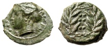 """Ancient Coins - Sicily, Himera AE Hemilitron 15mm """"Nymph Bust & Six Pellets in Wreath"""" gVF Green"""