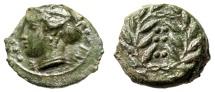 "Sicily, Himera AE Hemilitron 15mm ""Nymph Bust & Six Pellets in Wreath"" gVF Green"