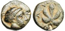 "Ancient Coins - Caria, Idyma AE10 ""Nymph & Fig Leaf"" Very Rare VF 4th Century BC"