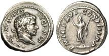 "Ancient Coins - Caracalla Silver Denarius ""Serapis Wearing Polos"" Rome 213AD RIC 208b VF"