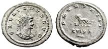 """Ancient Coins - Gallienus Silvered Antoninianus """"Lion, Bucranium & Branch"""" Antioch RIC 602 gEF"""