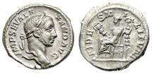 "Ancient Coins - Severus Alexander Silver Denarius ""FIDES MILITVM Fides Seated"" RIC 193 Near EF"