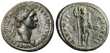 "Ancient Coins - Domitian AE As ""Virtus, Foot on Helmet, Holding Spear & Sword"" Rome RIC 499"