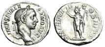 """Ancient Coins - Severus Alexander Silver Denarius """"Sol, Radiate, Whip"""" 230 AD RIC 101a Good VF"""
