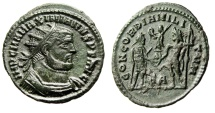 "Ancient Coins - Maximian AE Radiate ""CONCORDIA MILITVM Jupiter"" Heraclea RIC 14 aEF"
