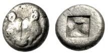 "Ancient Coins - Lesbos, Uncertain AR (Billon) 1/6 Stater ""Confronted Boars & Four Pellets"" Rare"