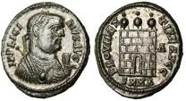 "Ancient Coins - Licinius I Silvered AE3 ""Campgate With Three 3 Turrets, Lambda"" Herclea RIC 48"