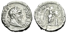 "Ancient Coins - Septimius Severus Silver Denarius ""Victory, Shield on Palm"" 207 AD RIC 211"