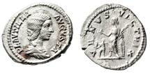 """Ancient Coins - Plautilla (Wife of Caracalla) Silver Denarius """"Venus, Cupid"""" Rome RIC 369 EF"""