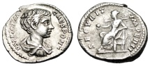 "Ancient Coins - Geta Silver Denarius ""SECVRIT IMPERII Securitas Globe"" RIC 20b VF Young Portrait"