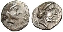 """Ancient Coins - Cilicia, Nagidos AR Obol """"Aphrodite & Bearded Dionysos"""" VF"""