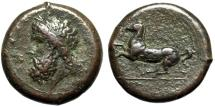 """Ancient Coins - Sicily, Syracuse AE Dilitron """"Zeus & Horse"""" Timoleon and the Third Democracy nVF"""