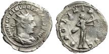 "Ancient Coins - Valerian AR Antoninianus ""APOLINI PROPVG Apollo, Drawing Bow"" Rome 253 AD RIC 74"