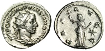 "Ancient Coins - Volusian Silver Antoninianus ""PAX AVG Pax, Star Right"" Rome Mint RIC 180 gVF"