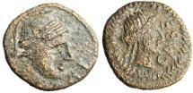 "Ancient Coins - Celtic Gaul (France) Cabellio AE15 ""Helmeted Head & Apollo CABE"" Rare"