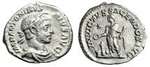 "Ancient Coins - Elagabalus AR Denarius ""INVICTVS SACERDOS AVG Altar, Bull"" Rome RIC 88 Good VF"