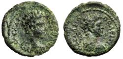 """Ancient Coins - Commodus AE17 of Hadrianopolis, Thrace """"Bust of Hermes, Caduceus"""" gVF"""