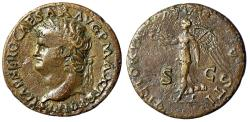 "Ancient Coins - Nero Dupondius ""VICTORIAE AVGVSTI Victory, Palm"" Rome 62-68 AD RIC 523 nVF"