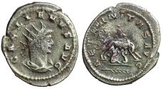 "Ancient Coins - Gallienus Billon Antoninianus ""She-Wolf, Twins, Palm Frond"" Antioch RIC 628"