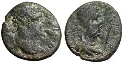 "Ancient Coins - Septimius Severus AE20 of Edessa ""Bust of King Abgar VIII"" Good Fine"