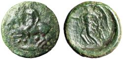 "Ancient Coins - Sicily, Himera AE Tetras ""Youth on Goat, Conche & Nike, Aphlaston"" Good Fine"