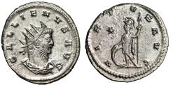"Ancient Coins - Gallienus Silvered Antoninianus ""VIRTVS AVG Soldier, Shield"" Antioch RIC 668 aEF"