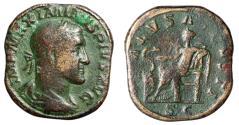 "Ancient Coins - Maximinus I Thrax AE Sestertius ""SALVS AVGVSTI Salus Seated"" 235-236 AD"