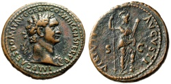 "Ancient Coins - Domitian AE As ""VIRTVTI AVGVSTI Virtus"" Rome Mint 87 AD RIC 551 Lovely VF"