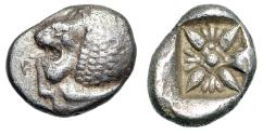 "Ancient Coins - Ionia, Miletos AR Diobol 6th Century BC ""Roaring Lion Head Left & Stellate"" VF"