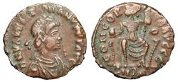 """Ancient Coins - Valentinian II AE17 """"CONCORDIA AVGGG Roma Seated Facing"""" Rome RIC 46b Rare gVF"""