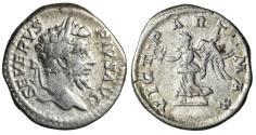 "Ancient Coins - Septimius Severus AR Denarius ""VICT PART MAX Victory"" Rome 202-210 AD RIC 295"