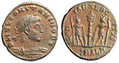 """Ancient Coins - Constans I as Caesar AE16 """"Soldiers, Second Officina"""" Alexandria RIC 68 Rare gVF"""