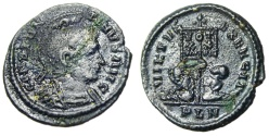 "Ancient Coins - Constantine I The Great AE3 ""VIRTVS EXERCIT Captives, Banner"" London Blue Patina"