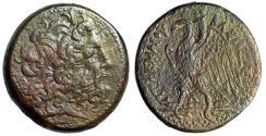 "Ancient Coins - Ptolemaic Kingdom: Ptolemy IV Philopator AE37 ""Zeus Ammon / Eagle, Lambda"" gVF"