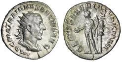 """Ancient Coins - Trajan Decius AR Antoninianus """"GENIVS EXERC ILLVRICIANI Genius, Standard"""" gVF"""